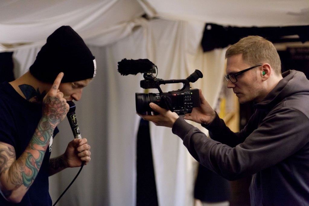Martin Brand filming David Beule, 2012, Photo: Per Florian Appelgren